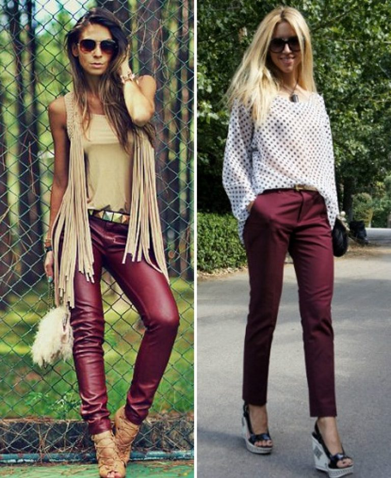 бордовые брюки фото с чем носить крышке